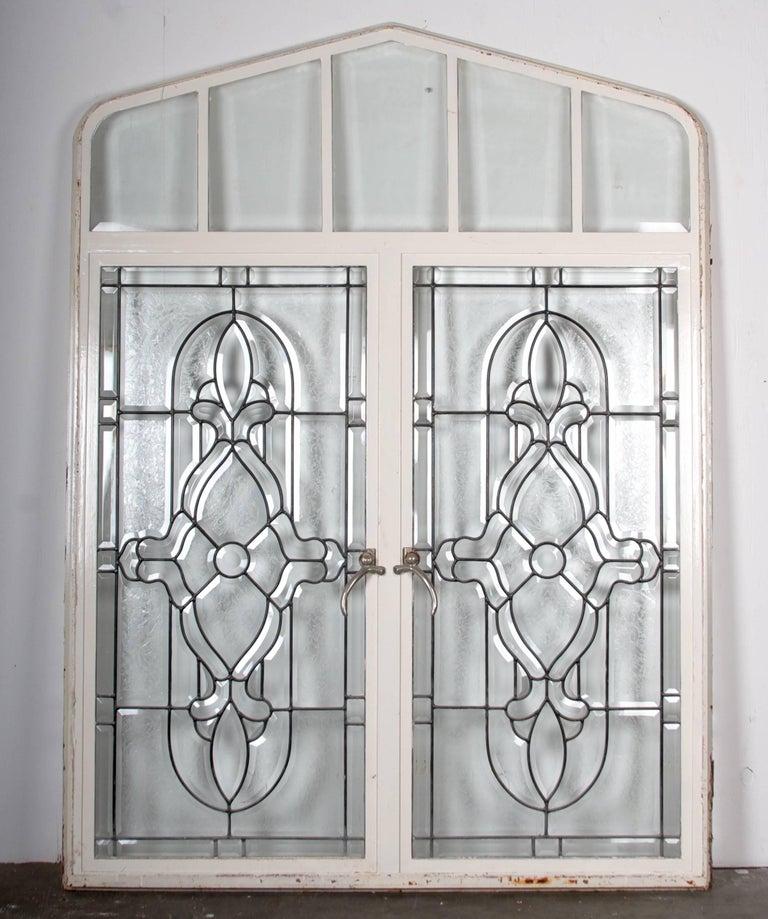 Beaux Arts Beveled Leaded Glass Window, circa 1910, 1 Window For Sale