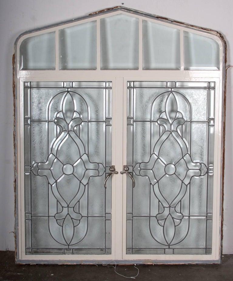 American Beveled Leaded Glass Window, circa 1910, 1 Window For Sale