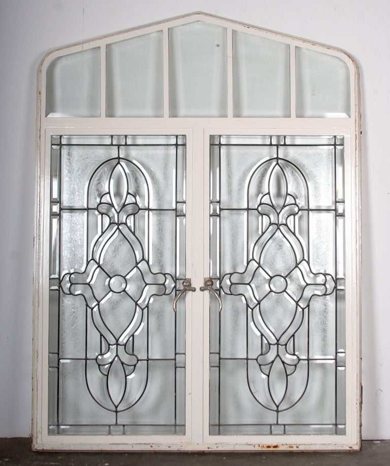 Beaux Arts Beveled Leaded Glass Windows, circa 1910,  12 Windows- For Sale