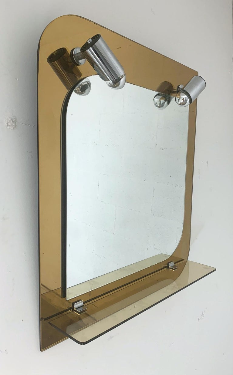 Mid-Century Modern Beveled Mirror with Lights by Veca For Sale