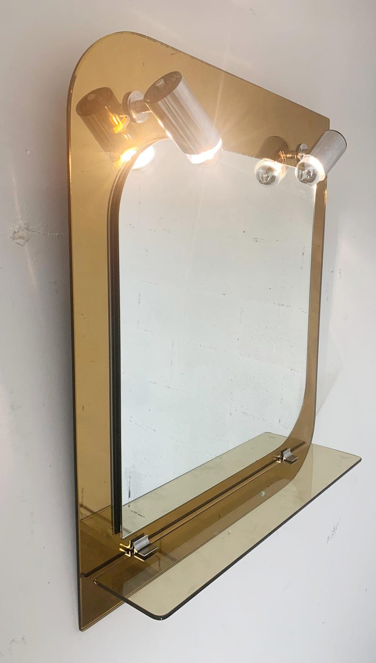 Italian Beveled Mirror with Lights by Veca For Sale