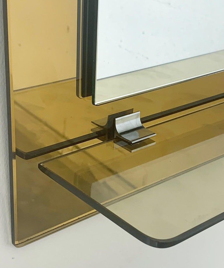 Mid-20th Century Beveled Mirror with Lights by Veca For Sale