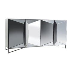 Beveled Mirrored and Chrome Graphic Design Sideboard