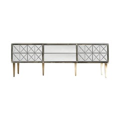 Beveled Mirrored and Gilded Metal Compass Feet Sideboard