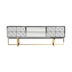 Beveled Mirrored and Gold Metal Feet Sideboard