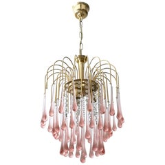 Beveled Murano Glass Teardrop Chandelier with a Brass Structure, Italy, 1970s
