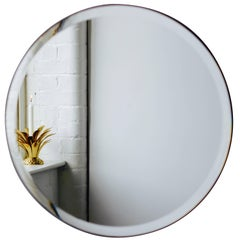 Orbis™ Round Beveled Art Deco Frameless Mirror