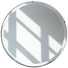 Orbis™ Round Beveled Art Deco Frameless Mirror with Brass Clips