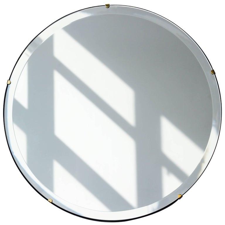 Beveled Silver Orbis™ Round Mirror Frameless with Brass ...