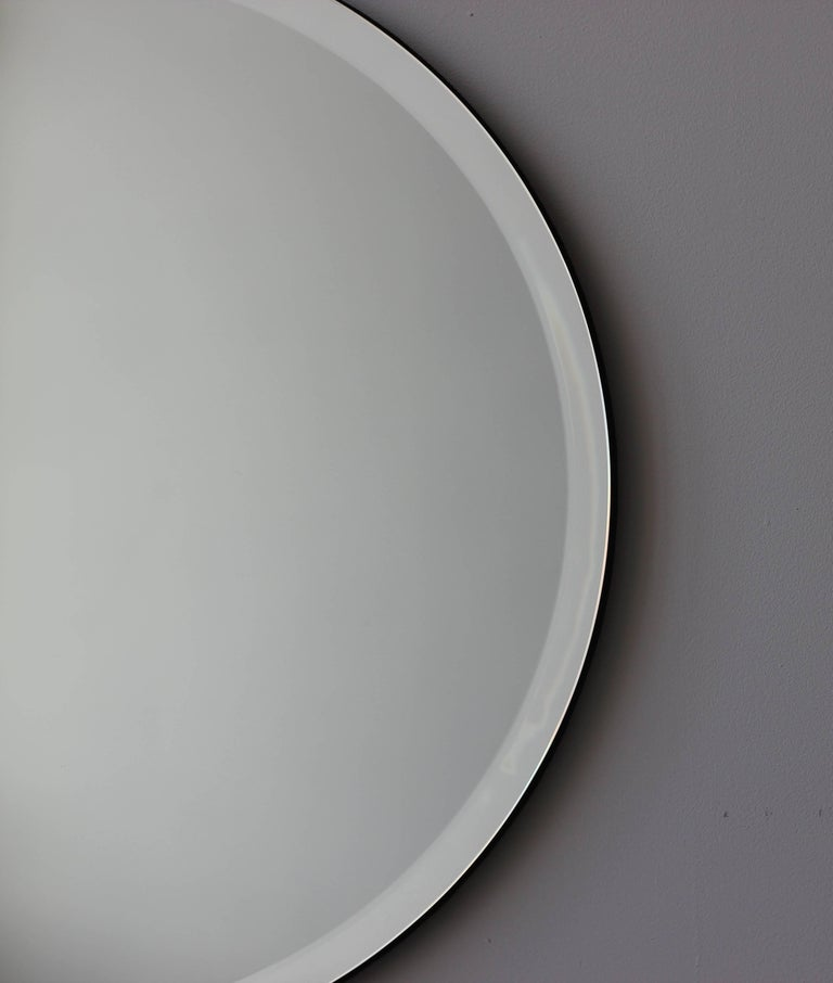 Contemporary Beveled Silver Orbis Round Mirror Frameless For Sale
