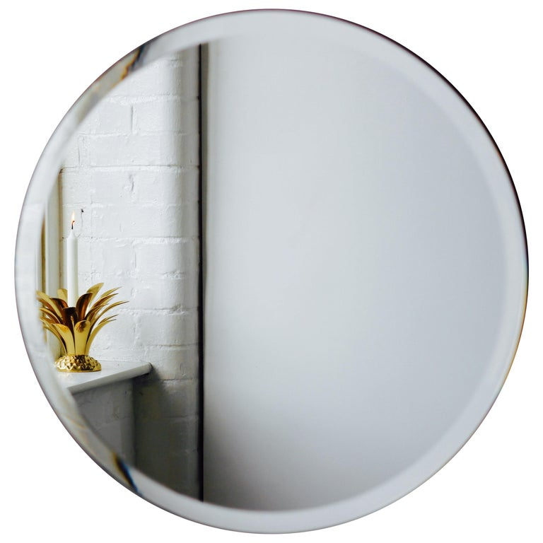 Beveled Silver Orbis Round Mirror Frameless For Sale