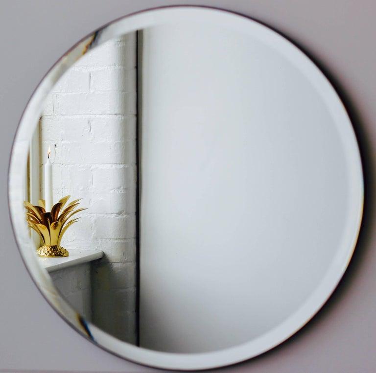Art Deco Beveled Silver Orbis Round Mirror Frameless For Sale