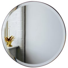 Orbis™ Round Frameless Beveled Mirror with Velvet Backing - Medium