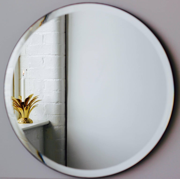 British Orbis™ Round Frameless Beveled Art Deco Mirror with Brass Clips - Large For Sale