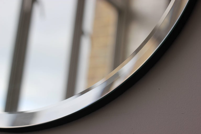 Orbis™ Round Frameless Beveled Art Deco Mirror with Brass Clips - Large In New Condition For Sale In London, GB