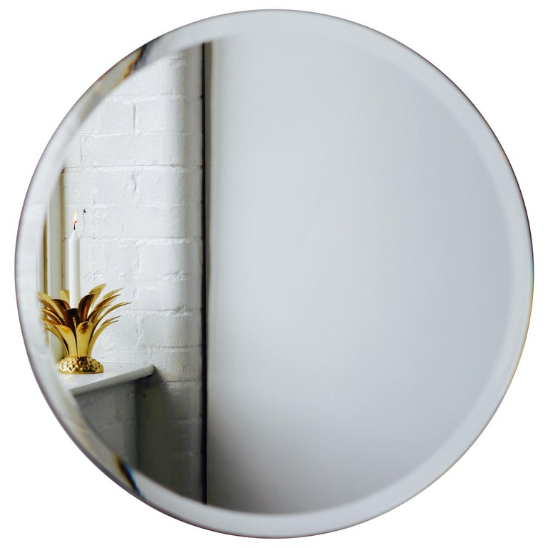 Orbis™ Round Frameless Beveled Art Deco Mirror with Brass Clips - Large For Sale