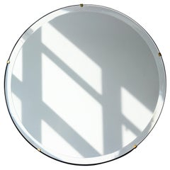 Beveled Silver Orbis Round Mirror Frameless with Brass Clips