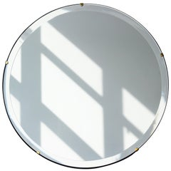 Orbis™ Round Frameless Beveled Art Deco Mirror with Brass Clips - Large