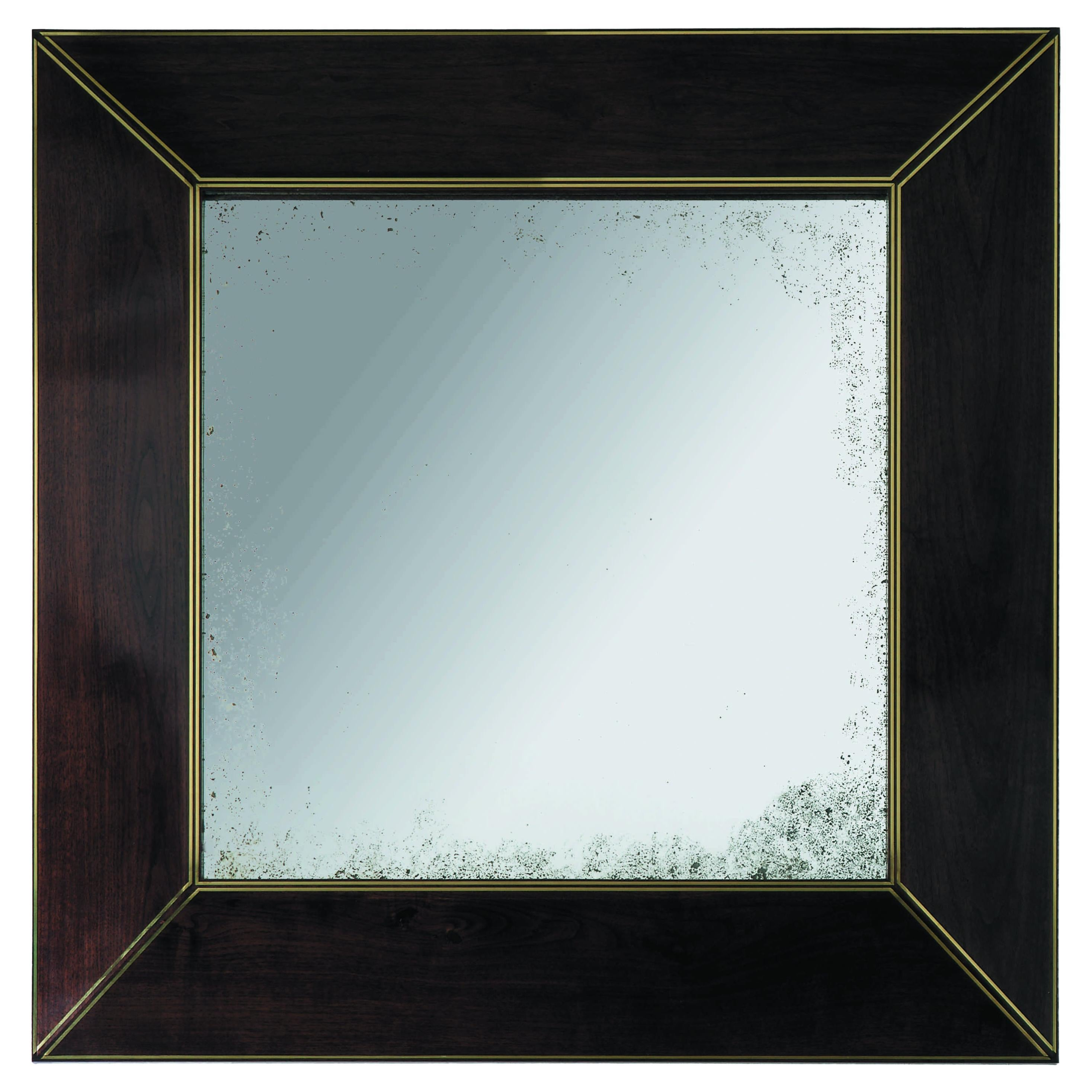 Beveled Square Mirror with Brass Inlays