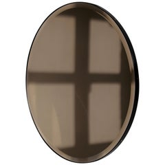 Orbis™ Bronze Tinted Round Beveled Mirror with a Black Frame - Small