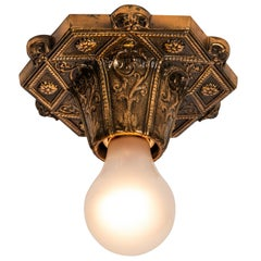 'Beverly Hills' Brass Art Deco Style Wall or Ceiling Light by Joe Rinaudo