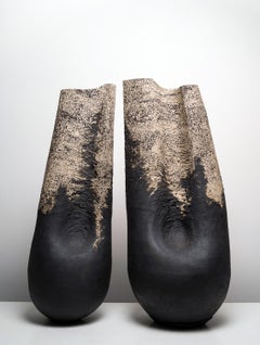 The Coupling - two Black Speckled Stoneware Clay abstract figurative scultptures