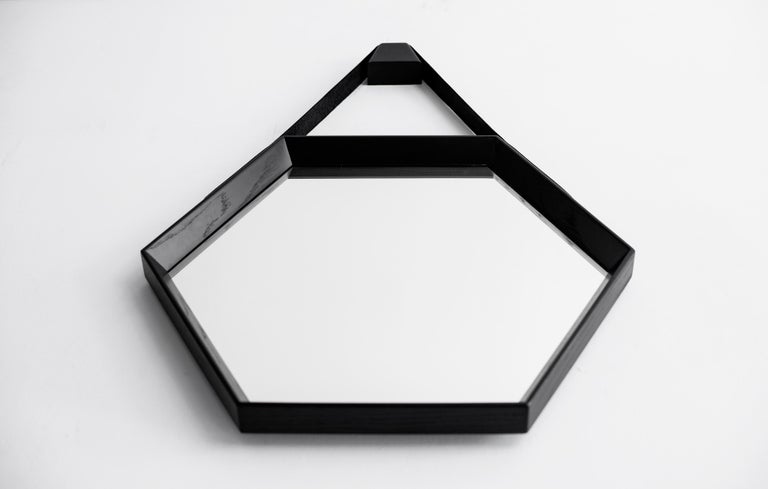 Beverly Oak and Leather Hexagon Mirror by Orange Los Angeles In Excellent Condition For Sale In Los Angeles, CA