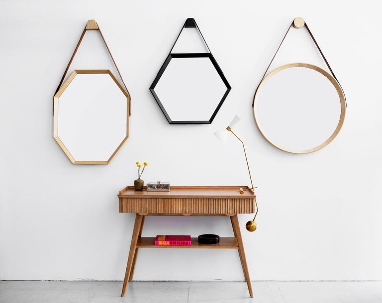 Contemporary Beverly Oak and Leather Hexagon Mirror by Orange Los Angeles For Sale