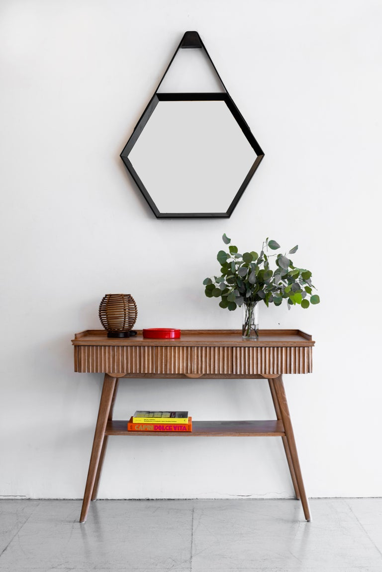 Beverly Oak and Leather Hexagon Mirror by Orange Los Angeles For Sale 1