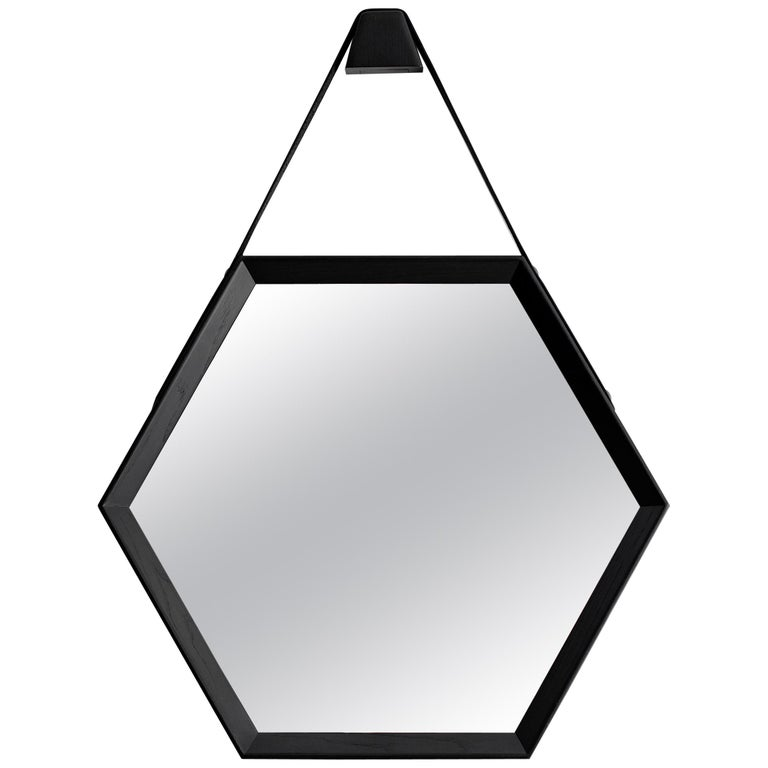Beverly Oak and Leather Hexagon Mirror by Orange Los Angeles For Sale