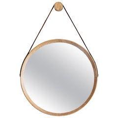 Beverly Oak and Leather Round Mirror, Cerused