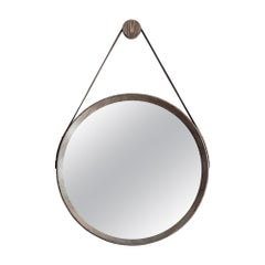 Beverly Oak and Leather Round Mirror, Grey Cerused