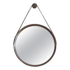 Beverly Oak and Leather Round Mirror, Stone Grey