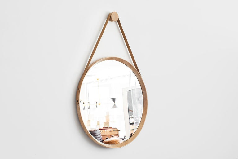 American Beverly Oak and Leather Round Mirror, Cerused For Sale