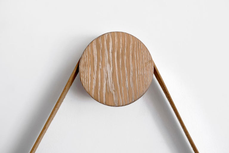Contemporary Beverly Oak and Leather Round Mirror, Cerused For Sale