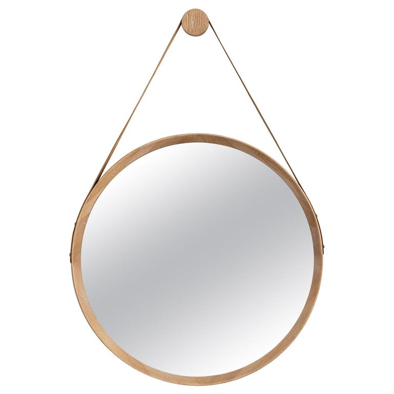 Beverly Oak and Leather Round Mirror, Cerused For Sale