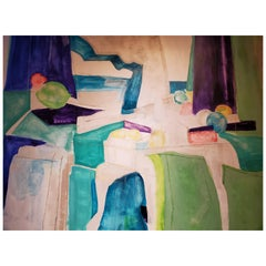 Beyond, Abstract Mixed-Media Painting on Canvas, 2015, Blue, Green Purple