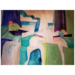 Beyond, Large Abstract Mixed-Media Painting on Canvas, 2015, Blue, Green, Purple