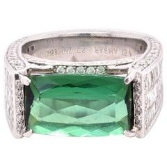 Bez Ambar 18 Karat White Gold Chrome Tourmaline and Diamond Fashion Ring
