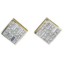 Bez Ambar 2.00 Carat Quad Diamond Earrings in 18 Karat Yellow Gold