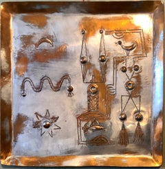 Israeli Modernist Arts & Crafts Copper Handmade Tray Bezalel Schatz Yaad Studio