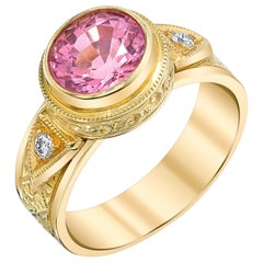 Bezel Set 2.28 Carat Pink Spinel and Diamond 18 Karat Gold Hand Engraved Ring