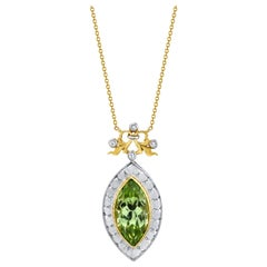 Bezel Set 7.48 Carat Marquise Shape Peridot and Diamond 18 Karat Gold Necklace