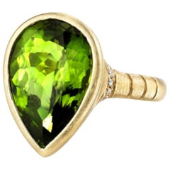 8.37 ct. Pear Shape Peridot & Diamond, 18k Yellow Brushed Gold Bezel Set Ring