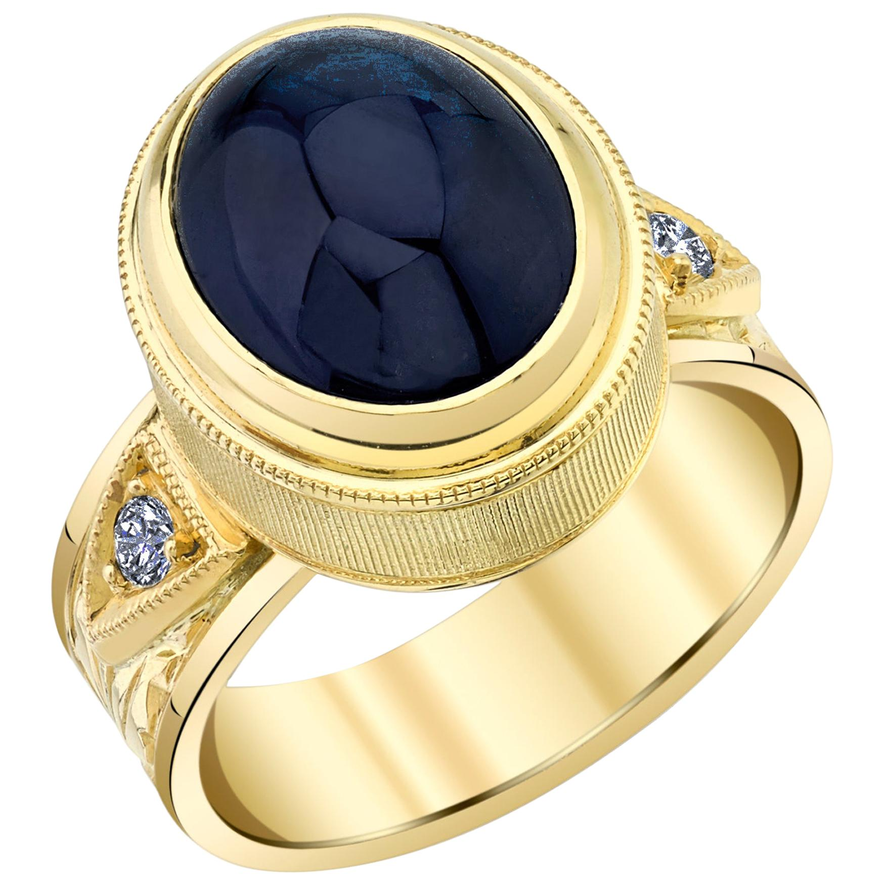 9.06 Carat Blue Sapphire Cabochon and Diamond, Yellow Gold Bezel Dome Band Ring
