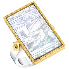Bezel Set Antique Mother of Pearl Gaming Counter, Silver & 18k Yellow Gold Ring