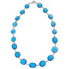 "Bezel Set Blue Quartz Sterling Silver Necklace 16"""