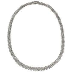 Bezel-Set Diamond 3-Row Necklace