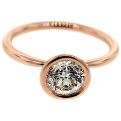 Bezel Set Diamond Engagement Ring in Rose Gold 'GIA'