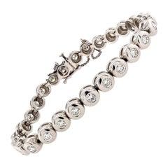 Bezel-Set Diamond Platinum Tennis Bracelet